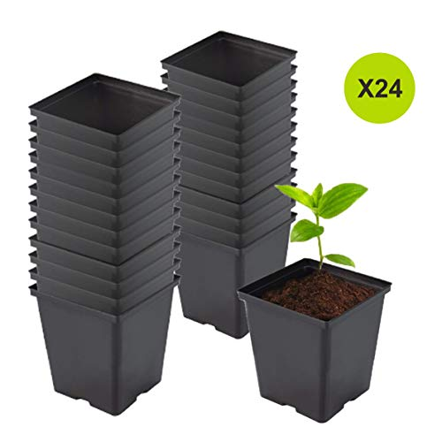 TopoGrow 1/2 Gallon 24-Packs Square Black Plastic Nursery Plant Pots/Flower Plastic Pots for Plant - Nursery Pot Square