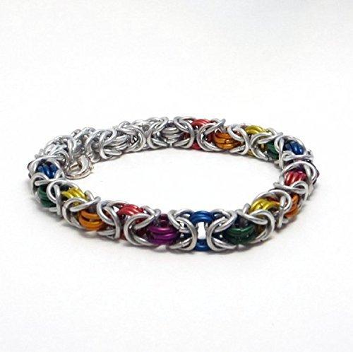 Rainbow Byzantine Chainmaille Bracelet Thin - Byzantine Chainmaille Link