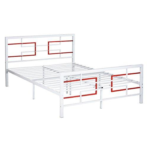 Green Forest Bed Frame Full Size White, Metal Platform Mattr