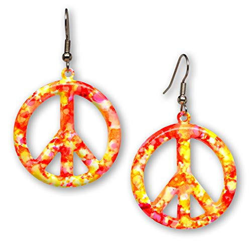 Orange Pink Hippie Tie Dye Peace Sign Enamel on Pewter Dangle Earrings