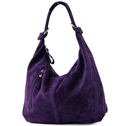 Leather Leather Bag Dunkellila Wild Large Leather Bag Bag ital de Hobo T158 modamoda qp61Yw1
