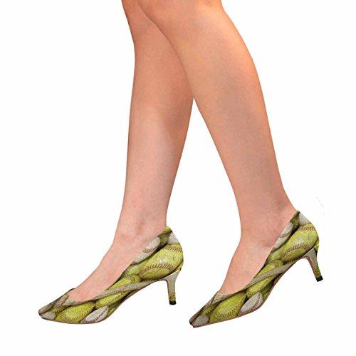 1 Multi Pump Low Womens Baseballs InterestPrint Shoes Pointed Dress Kitten Toe Heel Softballs A and Bat 0460wZAxq