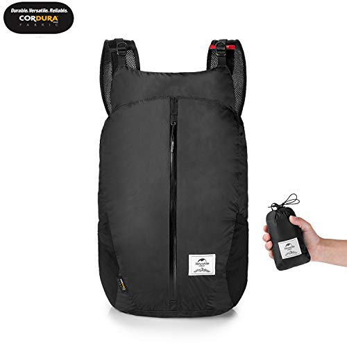 25L Ultralight Foldable Packable Small Hiking Daypack Backpack with Cordura Fabric for Women Men, Lightweight Waterproof for Climbing Camping Backpacking Cycling Bicycle Travel Airplane (Black)