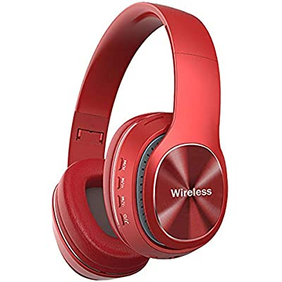 Mackur Wireless Headset Bluetooth 4 1 Stereo Over Ear Headphone Foldable Headphones Built-in Mic For moblle phone  Color Red