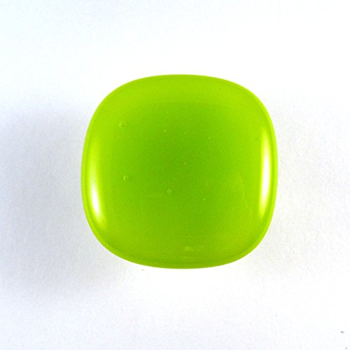 Lime Green Glass Cabinet Knob - Colormax Collection (118 colors) Rounded Square Green Glass Knob