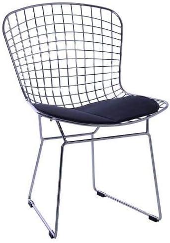 Cuscino Nero Acciaio Cromato//Poliuretano 56x53x5.75 cm Lo+DeModa Bertoia Set di 2 Sedia