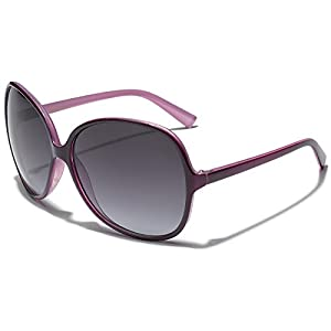Oversized Round Frame Women's Butterfly Fashion Statement Sunglasses (Two Tone Purple | Gradient Smoke, 67)