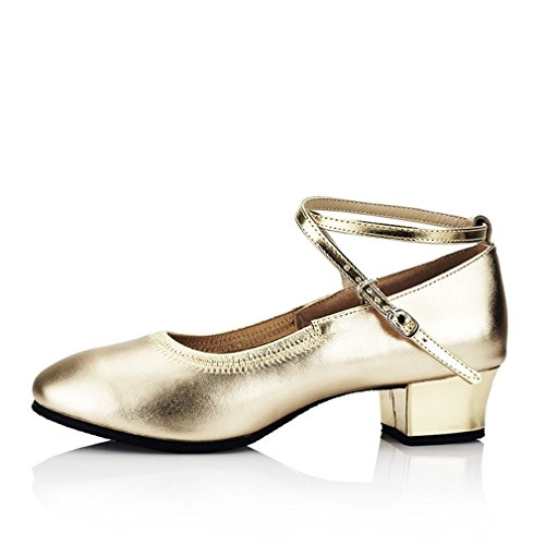 Sandals Summer Samba Dance Leather Dance Leather Strap Shoe The Golden Ankle BYLE 3 Jazz 5CM Adult Modern Shoes Onecolor Soft F5Rxq