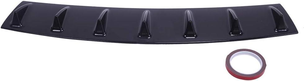 Black KABOCHO Rear Bumper Lip Diffuser Spoiler Universal 7 Shark Fin Style Gloss Black ABS 33 x 6 Lower Rear Body Bumper Lip Diffuser