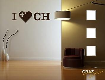 Adesivo da parete con scritta Svizzera - I love CH Per soggiorno ...