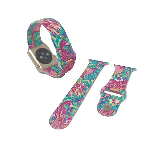 Replacement Band For 38Mm Apple Watch Fits Series 1   2   Lilly Inspired Print On A Soft Silicone Band  Flamingo