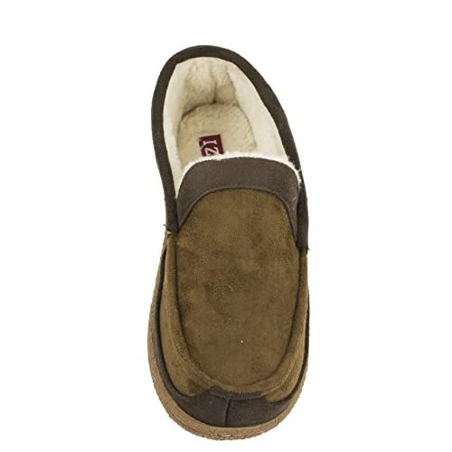 IZOD Mens Classic Two-Tone Moccasin Slipper Winter Warm Slippers with Memory Foam Size 8 to 13