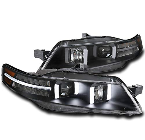 (ZMAUTOPARTS LED DRL Black Projector Headlights Headlamps For 2004-2008 Acura TL)