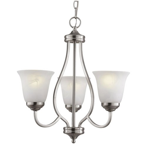 Trans Globe Lighting PL-10007 BN 3-Light Chandelier, Brushed Nickel