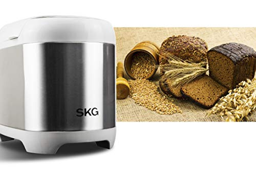 SKG 2LB Automatic Programmable Bread Machine Multifunctional Bread Maker (19 Programs, 3 Loaf Sizes, 3 Crust Colors, 15 Hours Delay Timer, 1 Hour Keep Warm)-Gluten Free Whole Wheat Breadmaker by SKG