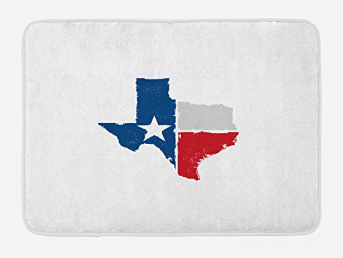 Lunarable Texas Bath Mat, Distressed State Outlines Fort Worth Austin Borders Flag Design The Lone Star, Plush Bathroom Decor Mat with Non Slip Backing, 29.5 W X 17.5 L Inches, Dark Blue Red Grey -