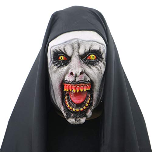 Lovhop Nun Horror Mask with Hood Full Head Scary Horrible Halloween Party Cosplay Costume Props Accessories -