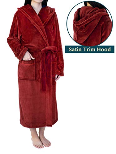 Premium Women Fleece Robe with Hood and Satin Trim | Luxurious Soft Plush Bathrobe