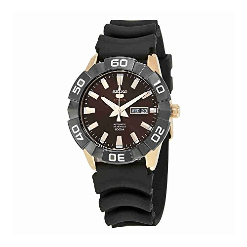 Seiko-5-Sports-SRPA58-Mens-Rose-Gold-Tone-Brown-Dial-Resin-Band-Automatic-Watch