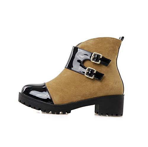 Womens Closed Top Heels Zipper Low Round Material AmoonyFashion Kitten Soft Toe Brown Boots qI4vw