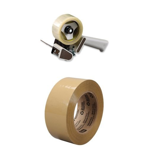 Scotch Box Sealing Tape Dispenser H180, 2 in & Scotch Box Sealing Tape 375 Tan, 48 mm x 50 m, High Performance, Conveniently Packaged (Pack of 1)