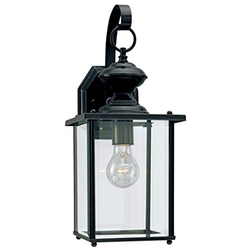 Sea Gull Lighting 8458-12 Jamestowne One-Light Outdoor Wall Lantern with Clear Beveled Glass Panels, Black Finish from Sea Gull Lighting