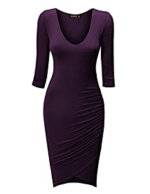 CTC Womens Deep V Neck 3/4 Sleeve Tulip Bodycon Dress - Made in USA