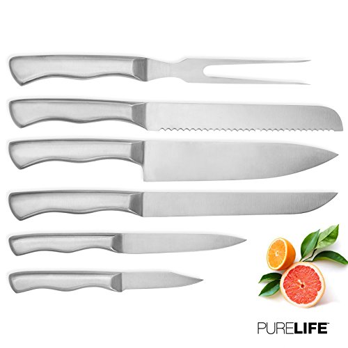 Kitchen Knife Set 6pcs by PureLife – Full Tang High Carbon Stainless Steel Knives W/Triple Riveted Ergonomic Handles – Cutlery Set Includes Chef, Bread, Paring, Slicer & Utility Knife + Meat Fork