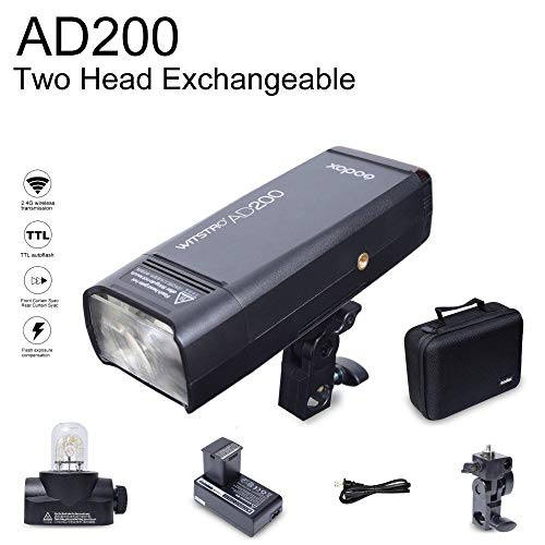 GODOX AD200 TTL 2.4G HSS 1/8000s Pocket Flash Light Double Head 200Ws with 2900mAh Lithium Battery+GODOX X1T-S 2.4G Wireless Flash Trigger Compatible for Sony DSLR Cameras