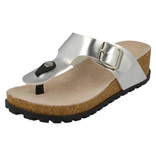 Spot On Womens/Ladies Wedge Heel Toepost Mule Sandals With Buckle Black oBZdoot