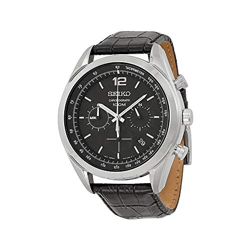 - Seiko Chronograph Black Dial Stainless Steel Black Leather Mens Watch SSB097