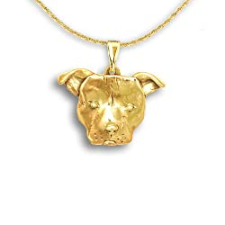 14k Gold Pit Bull Large Pendant by The Magic Zoo