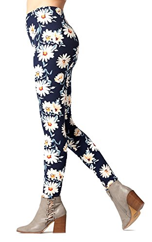 Conceited Premium Ultra Soft Printed Leggings - High Waist Butter Leggings - (XS-L Size 0-12) (Small/Medium (0-12), Floral Navy White L1217) (Floral Spandex Leggings)