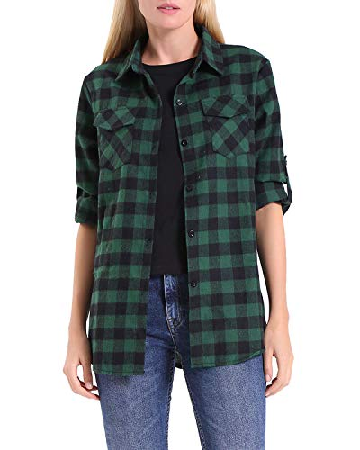 Shirt Green Plaid Down Button (KENANCY Women's Long Sleeve Casual Loose Classic Plaid Button Down Shirt Green)