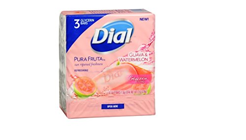 Dial Pura Fruta Refreshing Glycerin Bar Soap, Guava & Watermelon 3 ea(pack of 2)