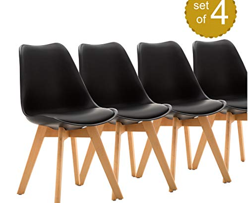 Mid Century Modern DSW Dining Chair Upholstered Side Chair with Beech Wood Legs and Soft Padded Shell Tulip Chair for Dining Room Living Room Bedroom Kitchen, Set of 4 (Upholstered Black)