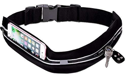 Run Chao Running Belt Waist Pack, Pocket Outdoor Sweatproof Water-Resistant Reflective Waist Bag Runners Belt, Fitness Workout Belt, Dual Pouch Bag for Jogging, Hiking, or Gym Workouts