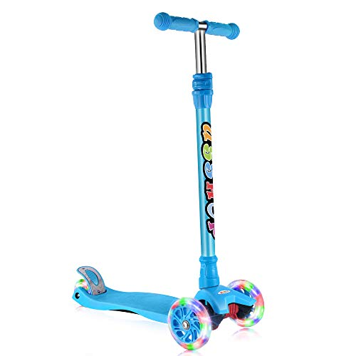 (GOOGO Kick Scooter for Kids & Toddlers 3 Wheel Lean to Turn 3 Adjustable Height PU Wheels for 3-13 Year Old Blue)
