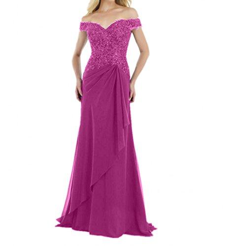 Blau Abendkleider Damen Spitze Brautmutterkleider Chiffon formalkleider Lang Ballkleider Festlichkleider Charmant PzRAg