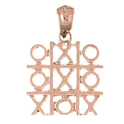 Rose Gold-plated 925 Silver 22mm Tic Tac Toe Pendant Necklace (Tic Pendant Tac Toe)