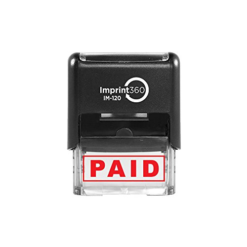 Imprint 360 AS-IMP1027 - PAID, Heavy Duty Commerical Quality Self-Inking Rubber Stamp, Red Ink, 9/16' x 1-1/2' Impression Size, Laser Engraved for Clean, Precise Imprints
