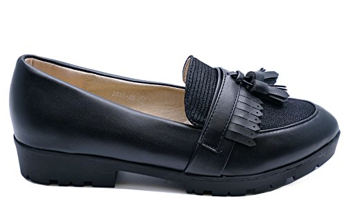HeelzSoHigh Ladies Black Tassle Loafers Slip-On Cleated Flat Smart Comfy Work Shoes Sizes 3-7 8lwueU