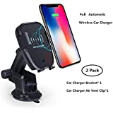 Wireless Car Charger Qi Fast Charging Car Mount with Air Vent & Bracket Dashboard Holder Suitable for iPhone Samsung All Qi Enabled.