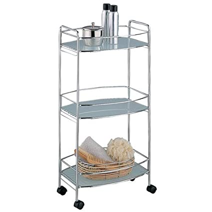 oval bathroom cart 3 tier chrome with tempered glass - Bathroom Cart
