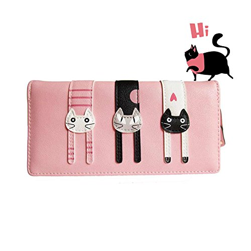 Valentines Day Gifts-Valentoria Birthday Gifts for Women's Mini Faux Leather Bifold 3 Cat Design Clutch Wallet(Long Pink)