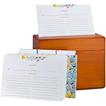 Recipe Box with 100 4x6 Floral Recipe Cards and Dividers. Classic Style Maple Wood Recipe Card Box, With a Warm Rustic Wood Finish