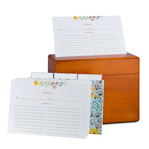 - Wooden Recipe Box and Cards Set: Vintage Maple Wood Kitchen Recipes Holder and Organizer Gift Box with Warm Rustic Varnish - Bundle of 100 4x6 Double Sided Floral Index Cards and 12 Dividers Included