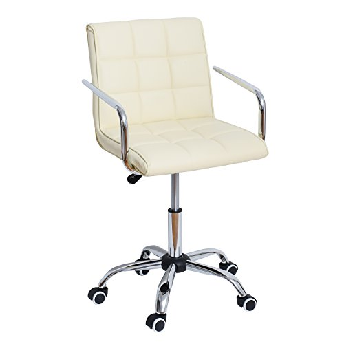 HOMCOM Modern PU Leather Midback Small Office Chair -Cream White ()