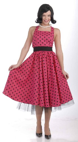 Forum Novelties Women's Flirting with The 50's Polka Dot Cutie, Red, (Halloween Housewife Costume)