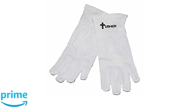 Gloves-Usher w//Cross White Cotton-Large
